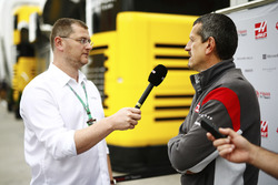 Guenther Steiner, Team Principal, Haas F1 Team, is interviewed by the media