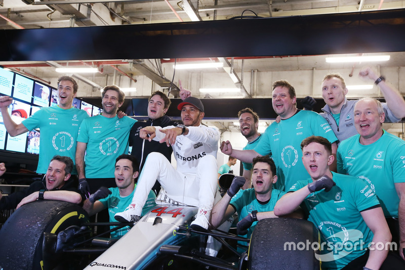 Lewis Hamilton, Mercedes AMG, celebrates victory with the team