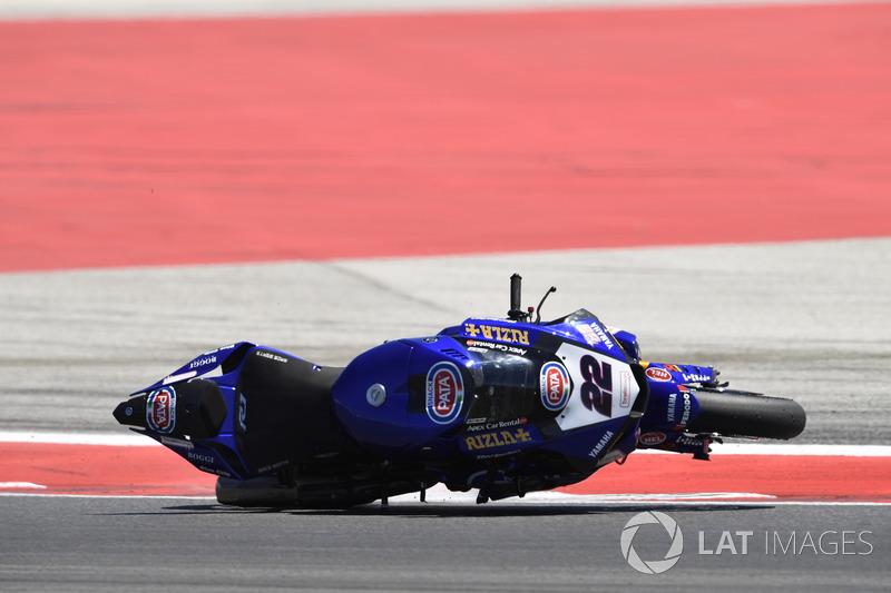 Alex Lowes, Pata Yamaha, crash