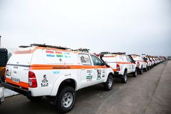 Support vehicles prepared for the long voyage to South America