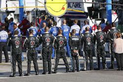 Stewart-Haas Racing crew members during the national anthem