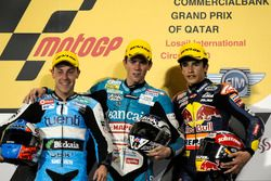 Podium: second place Efrén Vázquez, Race winner Nicolás Terol, third place Marc Marquez