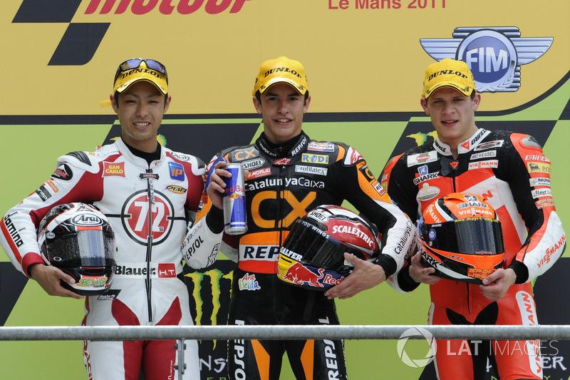 Le podium du GP de France 2011 de Moto2 : Marc Márquez, Yuki Takahashi, Stefan Bradl