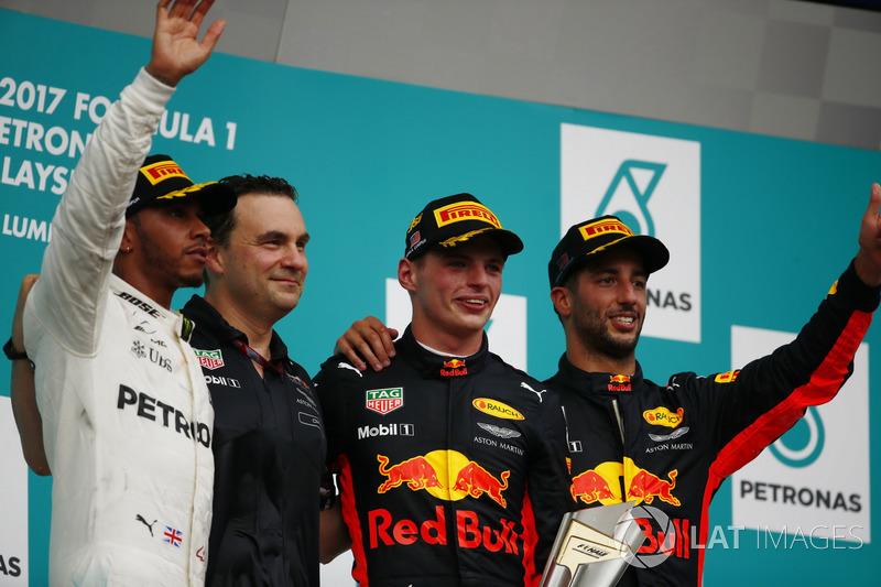 Podio: il vincitore della gara Max Verstappen, Red Bull Racing, il secondo classificato Lewis Hamilton, Mercedes AMG, il terzo classificato Daniel Ricciardo, Red Bull Racing