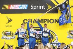 Hendrick Motorsports crew members celebrate in Victory Lane