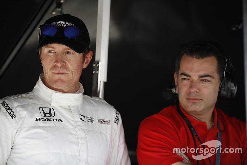 Scott Dixon, Chip Ganassi Racing Honda y su ingeniero Chris Simmons