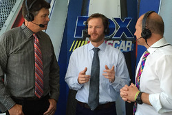 Dale Earnhardt Jr. in Fox TV booth, with Michael Waltrip and Adam Alexander