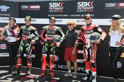 Polesitter Tom Sykes, Kawasaki Racing, second place Jonathan Rea, Kawasaki Racing, third place Chaz Davies, Ducati Team, Kenny Roberts