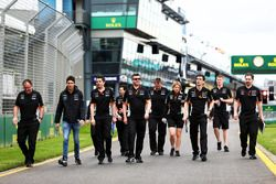 Esteban Ocon, Sahara Force India F1 Team walks the circuit with the team