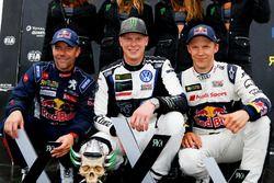 Podium: winnaar Johan Kristoffersson, PSRX Volkswagen Sweden, VW Polo GTi, tweede Sébastien Loeb, Te