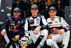 Podium : le vainqueur Johan Kristoffersson, PSRX Volkswagen Sweden, VW Polo GTi, le deuxième Sebastien Loeb, Team Peugeot-Hansen, Peugeot 208 WRX, le troisième Mattias Ekström, EKS, Audi S1 EKS RX Quattro