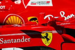 The car of Sebastian Vettel, Ferrari SF70H and Kimi Raikkonen, Ferrari SF70H in parc ferme