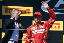 Podium: second place Kimi Raikkonen, Ferrari with David Coulthard,