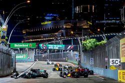 Lewis Hamilton, Mercedes AMG F1 W08, Daniel Ricciardo, Red Bull Racing RB13, Valtteri Bottas, Mercedes AMG F1 W08, Carlos Sainz Jr., Scuderia Toro Rosso STR12, Nico Hulkenberg, Renault Sport F1 Team RS17., Sergio Perez, Sahara Force India F1 VJM10 et Jolyon Palmer, Renault Sport F1 Team RS17