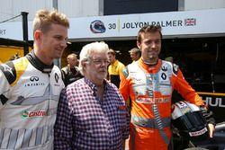 Nico Hulkenberg, Renault Sport F1 Team, Jolyon Palmer, Renault Sport F1 Team, con George Lucas creador de Star Wars