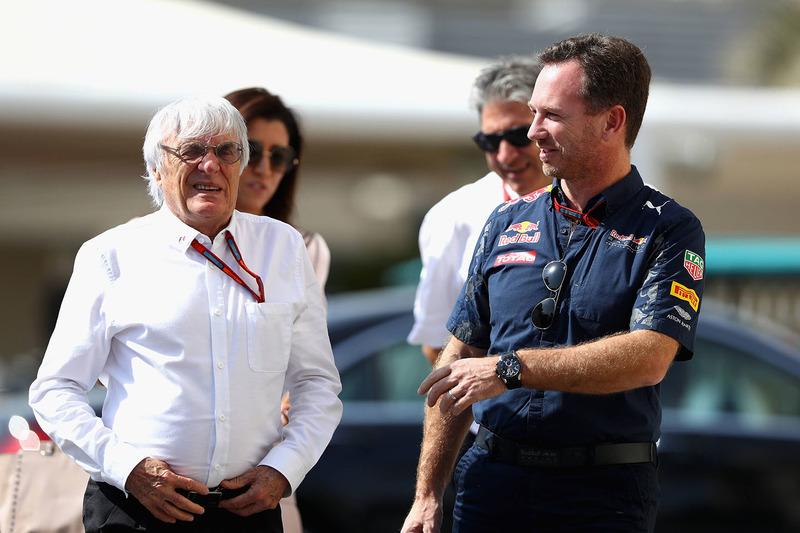 Bernie Ecclestone y Christian Horner, jefe de equipo Red Bull Racing