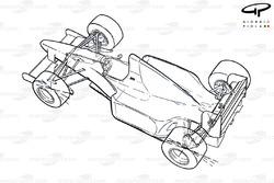 Benetton B193B 1993 rear-wheel steering schematic overview