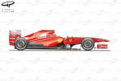 Vue latérale de la Ferrari 150° Italia, en Espagne