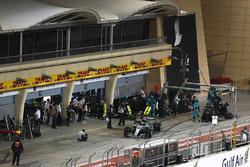 Valtteri Bottas, Mercedes AMG F1 W08, makes a pit stop