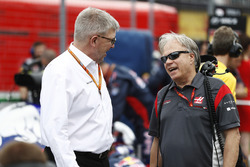 Ross Brawn, Managing Director of Motorsports, FOM, Gene Haas, Team Owner, Haas F1 Team