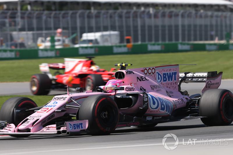 Esteban Ocon conseguiu se destacar, já que andou por boa parte da corrida nas primeiras posições.