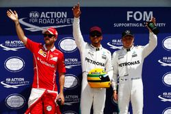 Qualifying Top 3: polesitter Lewis Hamilton, Mercedes AMG F1, second place Sebastian Vettel, Ferrari