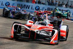 Nick Heidfeld, Mahindra Racing, leads Jose Maria Lopez, DS Virgin Racing, and Sam Bird, DS Virgin Racing