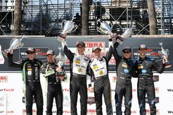 Podium: second place Scott Sharp, Ryan Dalziel, Tequila Patron ESM, winners Joao Barbosa, Filipe Albuquerque, Action Express Racing, third place Renger van der Zande, Jordan Taylor, Wayne Taylor Racing