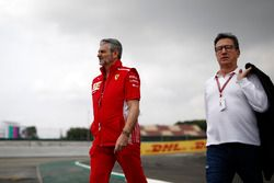 Maurizio Arrivabene, director del equipo Ferrari y Louis Camilleri, presidente de Philip Morris, recorren la pista