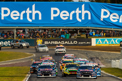Jamie Whincup, Triple Eight Race Engineering Holden leads at the start of the race