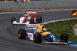 Alain Prost, Williams FW15C Renault, 1st position followed by Ayrton Senna, McLaren MP4/8 Ford