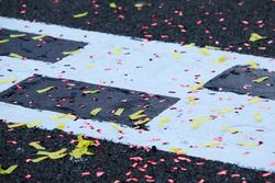 Confetti on the start / finish line