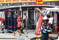 Sebastian Vettel, Ferrari, walks into the garage after crashing out