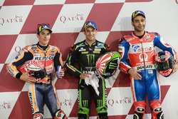 Top 3 after Qualifying: Marc Marquez, Repsol Honda Team, Johann Zarco, Monster Yamaha Tech 3, Danilo