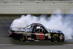 Brett Moffitt, Hattori Racing Enterprises, Toyota Tundra celebrates his win with a burnout
