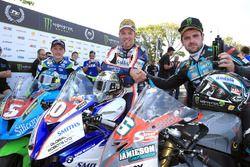 RL360º Superstock TT race winner Peter Hickman celebrates with runner up Michael Dunlop and third placed Dean Harrison