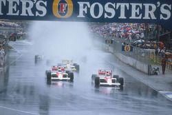 Ayrton Senna, McLaren MP4/5 Honda and Alain Prost, McLaren MP4/5 Honda, Pierluigi Martini, Minardi M