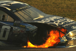 Danica Patrick, Stewart-Haas Racing Ford crash fire