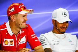 Sebastian Vettel, Ferrari and Lewis Hamilton, Mercedes AMG F1, in the press conference