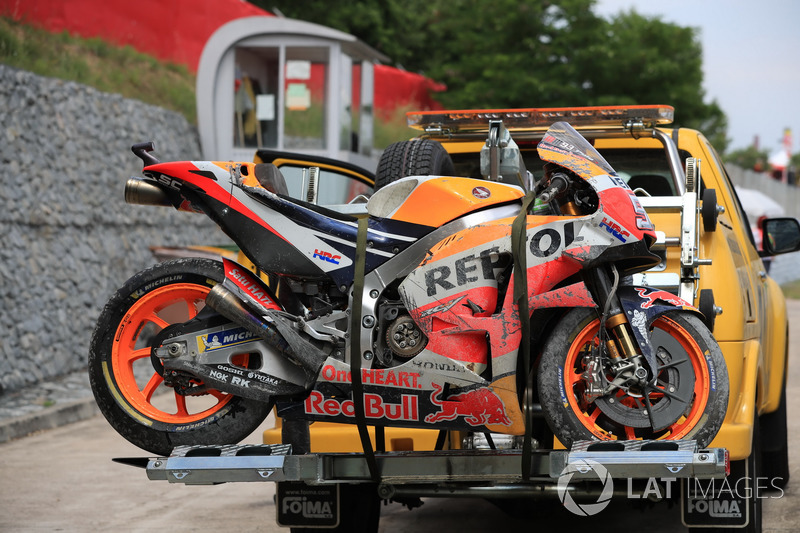 The crashed bike of Marc Marquez