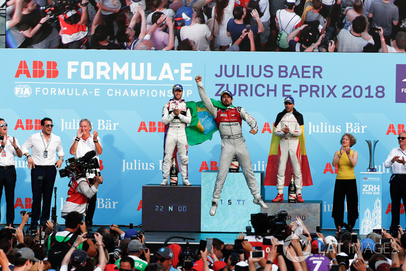 Lucas di Grassi, Audi Sport ABT Schaeffler, wins the Zurich ePrix, with Sam Bird, DS Virgin Racing,