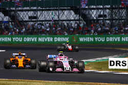 Esteban Ocon, Force India VJM11, leads Fernando Alonso, McLaren MCL33
