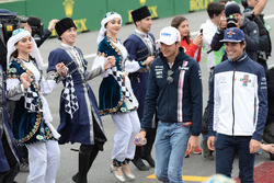 Esteban Ocon, Force India F1 and Lance Stroll, Williams on the drivers parade
