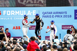 Sam Bird, DS Virgin Racing, finishes 3rd with Lucas di Grassi, Audi Sport ABT Schaeffler, finishing 2nd, Jean-Eric Vergne, Techeetah winning the Paris ePrix