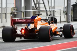 Stoffel Vandoorne, McLaren MCL33, con la vernice aerodinamica sull'ala posteriore