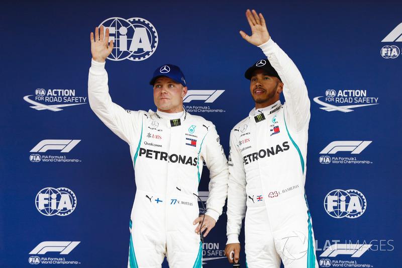 Lewis Hamilton, Mercedes AMG F1, celebrates pole position with Valtteri Bottas, Mercedes AMG F1