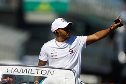 Lewis Hamilton, Mercedes AMG F1, in the drivers parade