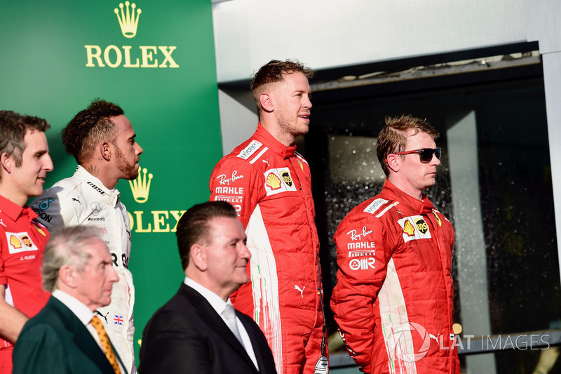 Lewis Hamilton, Mercedes-AMG F1, Sebastian Vettel, Ferrari and Kimi Raikkonen, Ferrari on the podium