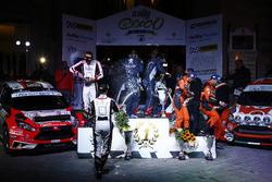 Podio: al secondo posto Andrea Crugnola, Danilo Fappani, Ford Fiesta R5, Gass Racing, vincitori Paolo Andreucci, Anna Andreussi, Peugeot 208 T16 R5, Peugeot Sport Italia, al terzo posto Simone Campedelli, Tania Canton, Ford Fiesta R5, Orange1 Racing