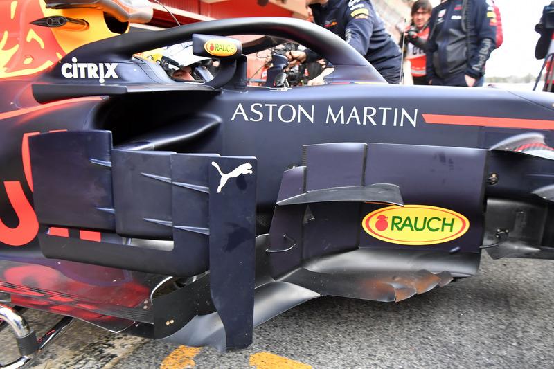 Max Verstappen, Red Bull Racing RB14, dettaglio del bargeboard